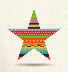 Colorful star design in fun geometric shape style vector