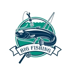 Big fishing sport club emblem vector