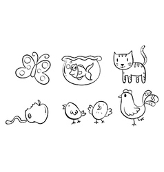 Six different doodle designs vector