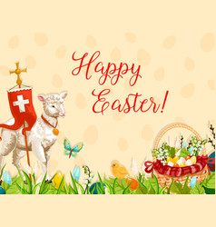 Easter lamb of god with cross greeting card design vector