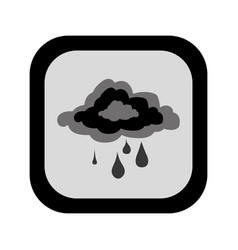 black silhouette square button with rainy cloud vector image