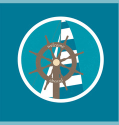 badge with ship wheel and sail canvas vector image