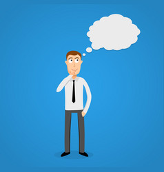 thinking cloud and cartoon business man vector image