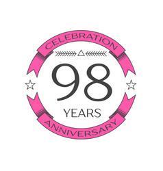 Ninety eight years anniversary celebration logo vector