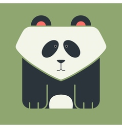 Flat square icon of a cute giant panda vector