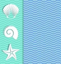 Card with sea icons vector