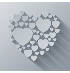 Grey and white paper heart shape on gray vector