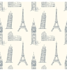Vintage seamless pattern with sights of europe vector