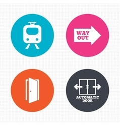 Train railway icon automatic door symbol vector