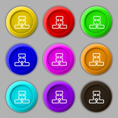 Network icon sign symbol on nine round colourful vector