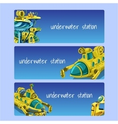 Underwater station cards on a blue background vector
