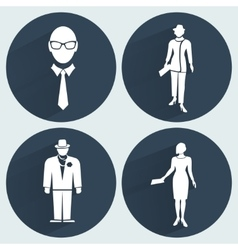 People icon set office worker symbol standing vector