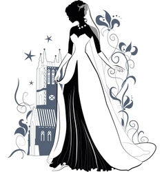 Ornate bride silhouette vector