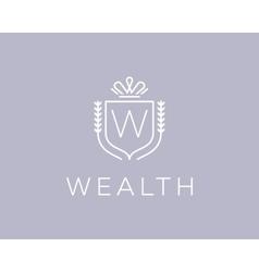 Elegant monogram letter w logotype premium crest vector