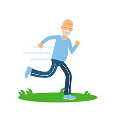 active senior runner man character doing exercise vector image vector image