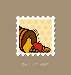 autumn cornucopia stamp harvest thanksgiving vector image