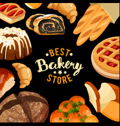 bakery shop frame baked bread products vector image vector image