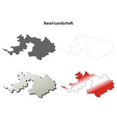 Basel-landschaft blank detailed outline map set vector