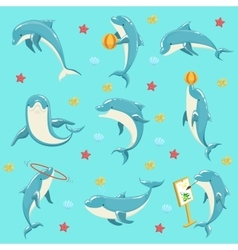 Bottlenose dolphin performing tricks set of vector
