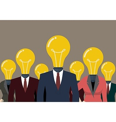 Business people with a light bulb head vector image