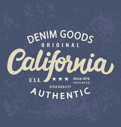 california authentic t-shirt print retro design vector image