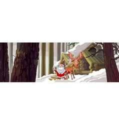 Cartoon joyous santa claus standing with a moose vector