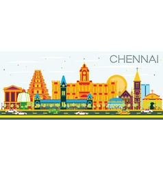 Chennai Skyline with Color Landmarks vector image