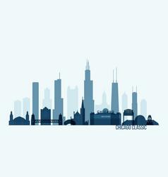 Chicago skyline buildings vector