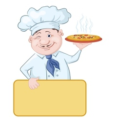 Cook with pizza and poster vector image