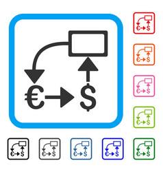 Euro dollar flow chart framed icon vector