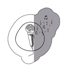 Figure microphone instrument note music icon vector