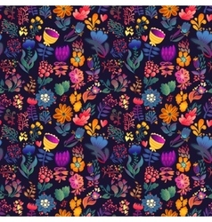 Flowers seamless pattern decorative card vector