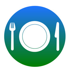 Fork plate and knife white icon in vector
