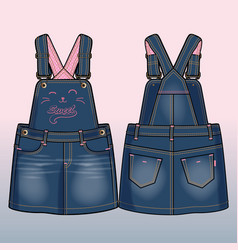 front and back sides of a denim sundress vector image vector image
