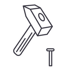 hammer with pin line icon sign vector image