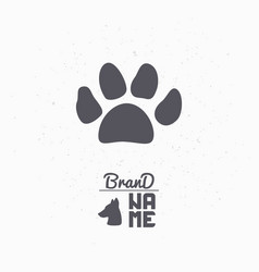hand drawn silhouette of paw print vector image vector image