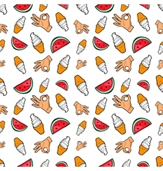 Hands Ice Cream and Watermelon Seamless Pattern vector image vector image