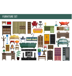 Home and office furniture chairs table desk and vector