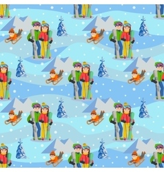 Man woman boy skiing in snow mountain family vector