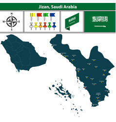 map of jizan saudi arabia vector image vector image