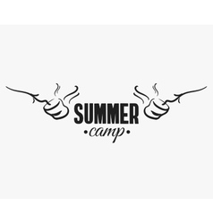 Marshmallow summer camp badge vector