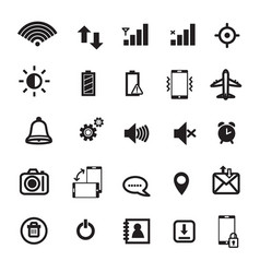 mobile phone notification icons vector image vector image