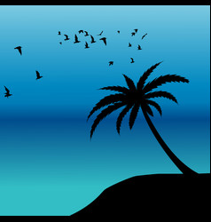 Palm silhouette and birds flying on the shore vector