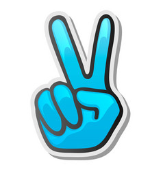 peace hand gesture sticker two fingers up vector image
