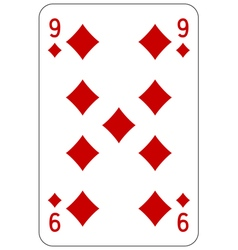 Poker playing card 9 diamond vector