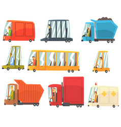 public and personal transport toy cars and trucks vector image vector image