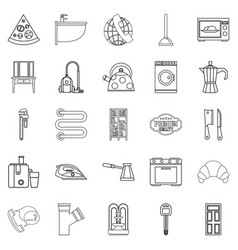 Rooming house icons set outline style vector