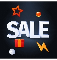 sale with elements on dark background vector image