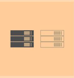 server dark grey set icon vector image vector image