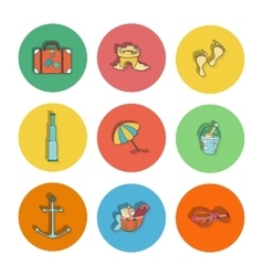 Summer hand drawn icons vector image vector image